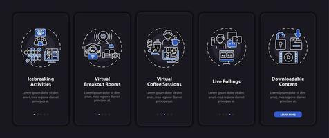 Remote gatherings success onboarding mobile app page screen with concepts vector