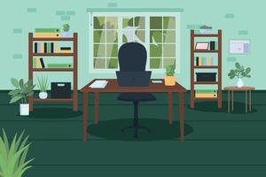 Ilustración de vector de color plano de oficina en casa moderna