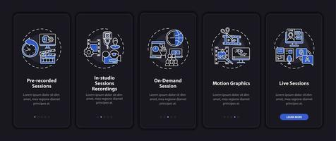 Remote gathering content onboarding mobile app page screen with concepts vector