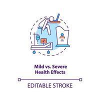 Mild vs severe health effects concept icon vector