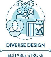 icono de concepto de diseño diverso vector