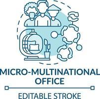 icono de concepto de oficina micro-multinacional vector