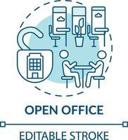 icono de concepto de oficina de planta abierta vector
