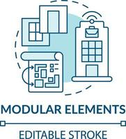 icono de concepto de elementos modulares vector