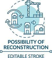 icono de concepto de posibilidad de reconstrucción vector