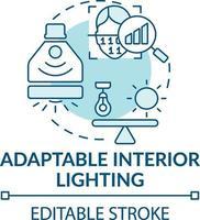 icono de concepto de iluminación interior adaptable vector