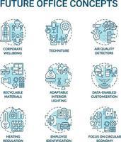 conjunto de iconos de concepto de oficina futura vector