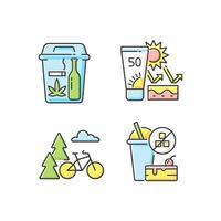 Conjunto de iconos de colores rgb de hábitos saludables vector