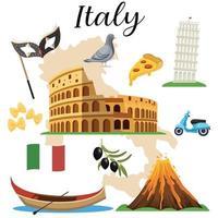 conjunto de iconos de italia vector