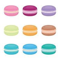 nine macarons set vector