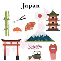 Japan icons set vector