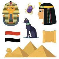Egypt icons set vector