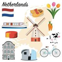 netherlands icons set vector
