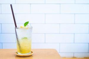 Close-up of a glass of iced lemonade
