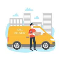 Delivery man with a truck vector illustration concept in cartoon style. Safe food delivery concept. Meal kit delivery concept. Delivery man is holding a box. Flat vector illustration.