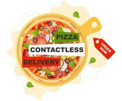 Pizza contactless delivery vector concept, great design for any purposes. Flat Vector cartoon style illustration.