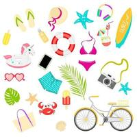 Summer items vector set, great design for any purposes.  Isolated vector illustration. Cartoon style, flat illustration.  Vector illustration flat design.