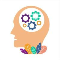 Mental health system vector concept illustration. Head with a mental system gears. Head icon isolated on white background.