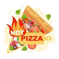 Rustic hot pizza vector illustration. Vector, isolated. Vegetable, junk food.