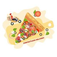 Pizza contactless delivery. Quarantine, isolation. Vector illustration background. Delivery service. Coronavirus quarantine. Safe food delivery.