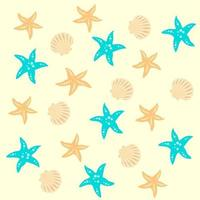 Seamless vector sea pattern for decorative design. Isolated vector illustration. Yellow background. Seamless vector texture. Vector template.