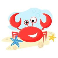 Red Sea crab. Flat vector illustration in cartoon style. Isolated on white background.