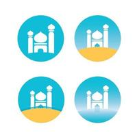 set icon of mosque flat design vector image