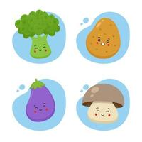 Set of 4 Kawaii Vegetables