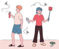 un hombre y una mujer persiguen a los mosquitos con aerosoles y palos flappers. ilustraciones de diseño de vectores de estilo dibujado a mano.