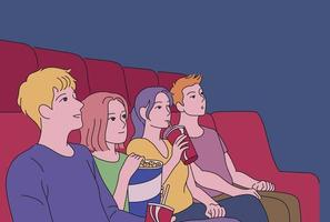gente viendo una película en un teatro oscuro. ilustraciones de diseño de vectores de estilo dibujado a mano.