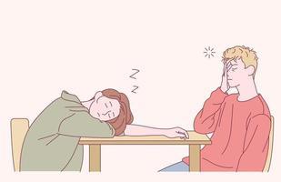 un hombre y una mujer duermen en la mesa. ilustraciones de diseño de vectores de estilo dibujado a mano.