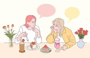 Two friends are drinking cake and juice at a strawberry dessert shop. hand drawn style vector design illustrations.