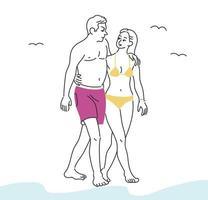 una pareja en traje de baño camina por la playa. ilustraciones de diseño de vectores de estilo dibujado a mano.