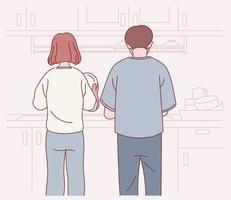 la parte de atrás de una pareja lavando platos juntos. Fondo de cocina. ilustraciones de diseño de vectores de estilo dibujado a mano.