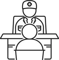 icono de línea para preguntar a un médico vector