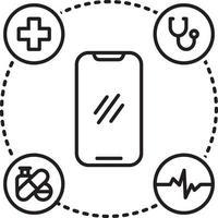 icono de línea para atención médica móvil vector