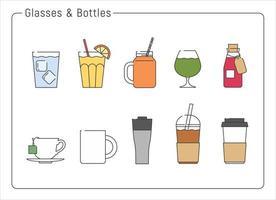 una colección de varios vasos para bebidas. ilustraciones de diseño de vectores de estilo dibujado a mano.