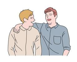 Two friends are showing joyful expressions. hand drawn style vector design illustrations.