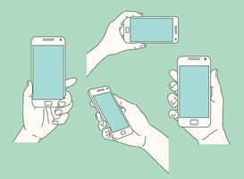 varias posturas de las manos sosteniendo el teléfono. ilustraciones de diseño de vectores de estilo dibujado a mano.