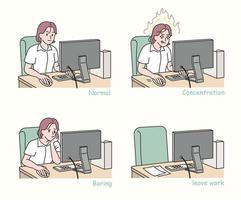 A business woman working in an office. hand drawn style vector design illustrations.