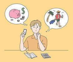 un hombre está haciendo un plan de ahorro. ilustraciones de diseño de vectores de estilo dibujado a mano.