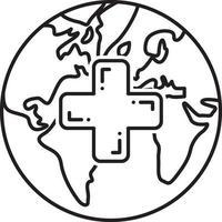 icono de línea para servicios médicos globales vector
