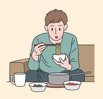 un hombre está comiendo ramen. ilustraciones de diseño de vectores de estilo dibujado a mano.