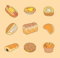 deliciosos panes. ilustraciones de diseño de vectores de estilo dibujado a mano.