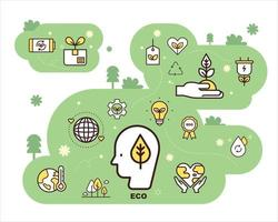 Eco icons composition. flat design style minimal vector illustration.