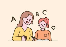 niños sentados en sus escritorios y educación en el hogar. Ilustración de vector mínimo de estilo de diseño plano.