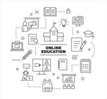 Online education icon set. flat design style minimal vector illustration.