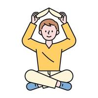 A boy sitting on the floor and holding a book above his head. flat design style minimal vector illustration.