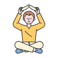 un niño sentado en el suelo y sosteniendo un libro sobre su cabeza. Ilustración de vector mínimo de estilo de diseño plano.