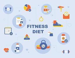 Fitness icon poster. flat design style minimal vector illustration.